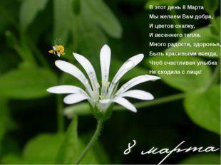 В этот день 8 Марта Мы желаем Вам добра, И цветов охапку, И весеннего тепла.