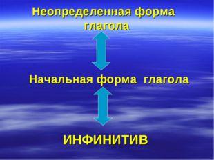Неопределенная форма глагола Начальная форма глагола ИНФИНИТИВ