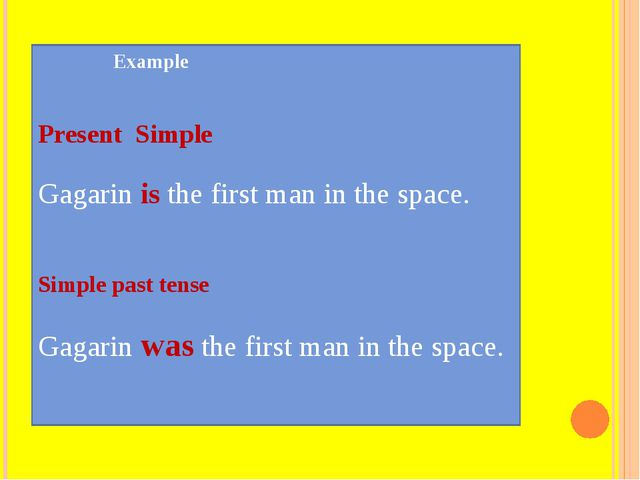 Example Present Simple Gagarin is the first man in the space. Simple past te...