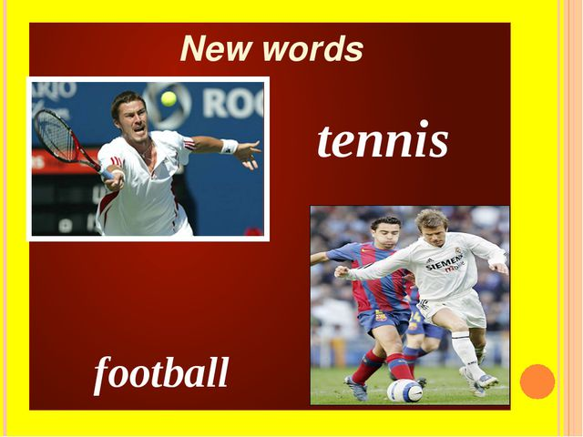 New words football tennis
