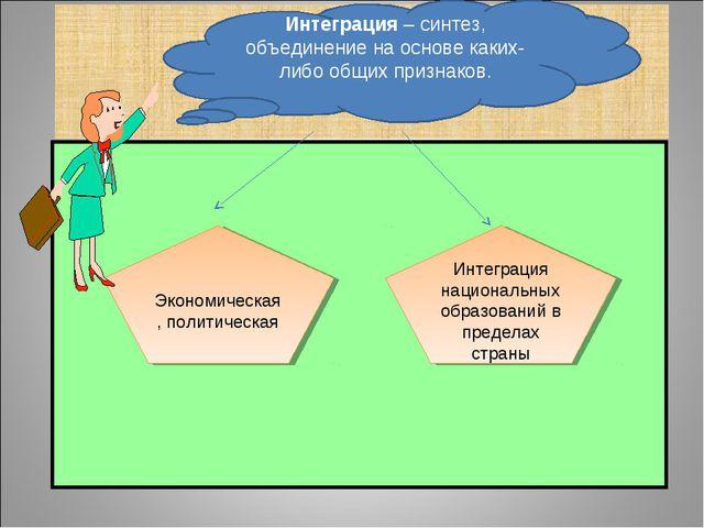 Экономическая, политическая Интеграция национальных образований в пределах с...