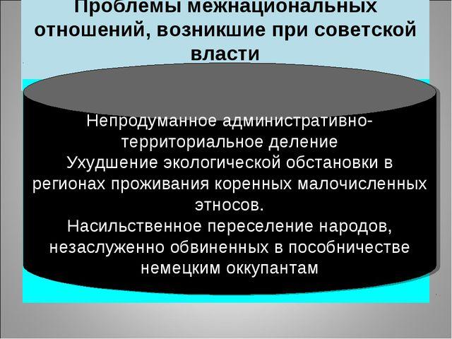 Проблемы межнациональных отношений, возникшие при советской власти Непродуман...