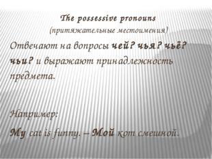 The possessive pronouns (притяжательные местоимения) Отвечают на вопросы чей?