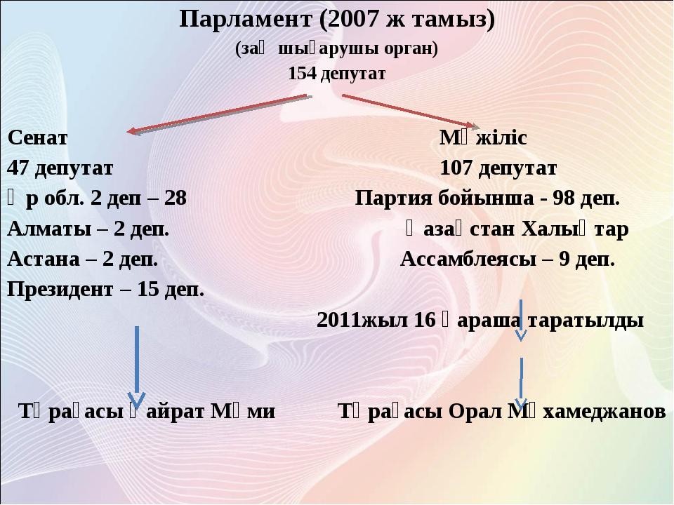 Парламент (2007 ж тамыз) (заң шығарушы орган) 154 депутат Сенат  Мәжіліс...