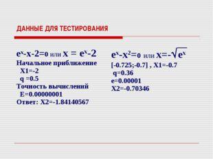 ДАННЫЕ ДЛЯ ТЕСТИРОВАНИЯ ex-x-2=0 или x = ex-2 Начальное приближение X1=-2 q =