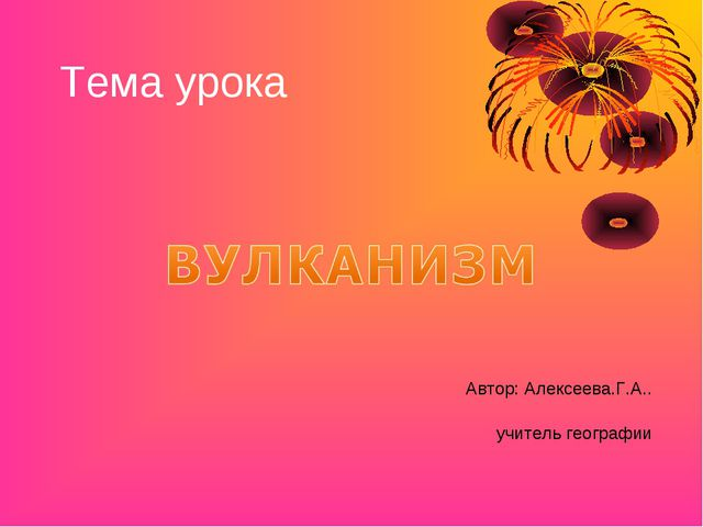 Тема урока Автор: Алексеева.Г.А.. учитель географии