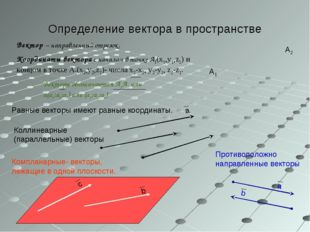 Определение вектора в пространстве Вектор – направленный отрезок. Координаты