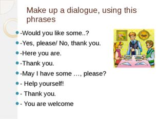 Make up a dialogue, using this phrases -Would you like some..? -Yes, please/