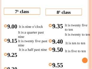 9.00 9.15 9.25 9.30 9.35 9.40 9.50 9.55 7th class 8th class It is nine o'cloc