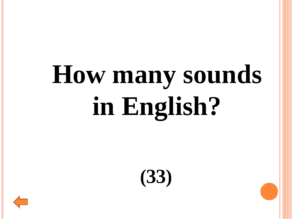 How many sounds in English? (33)