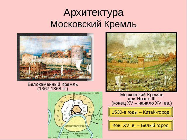 Архитектура Московский Кремль Белокаменный Кремль (1367-1368 гг.) Московский...