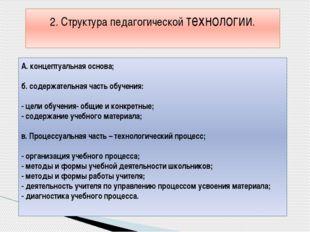 А. концептуальная основа; б. содержательная часть обучения: - цели обучения-
