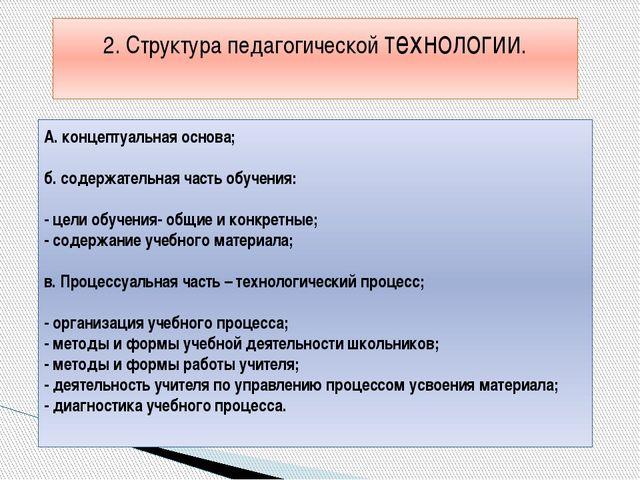 А. концептуальная основа; б. содержательная часть обучения: - цели обучения-...