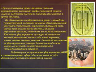 - На коллективном уровне -развитие системы корпоративных ценностей, профессио