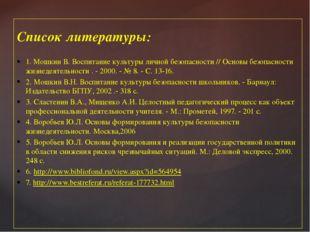 Список литературы: 1. Мошкин В. Воспитание культуры личной безопасности // Ос