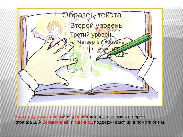 Большой, указательный и средний пальцы все вместе держат карандаш. А безымянн...