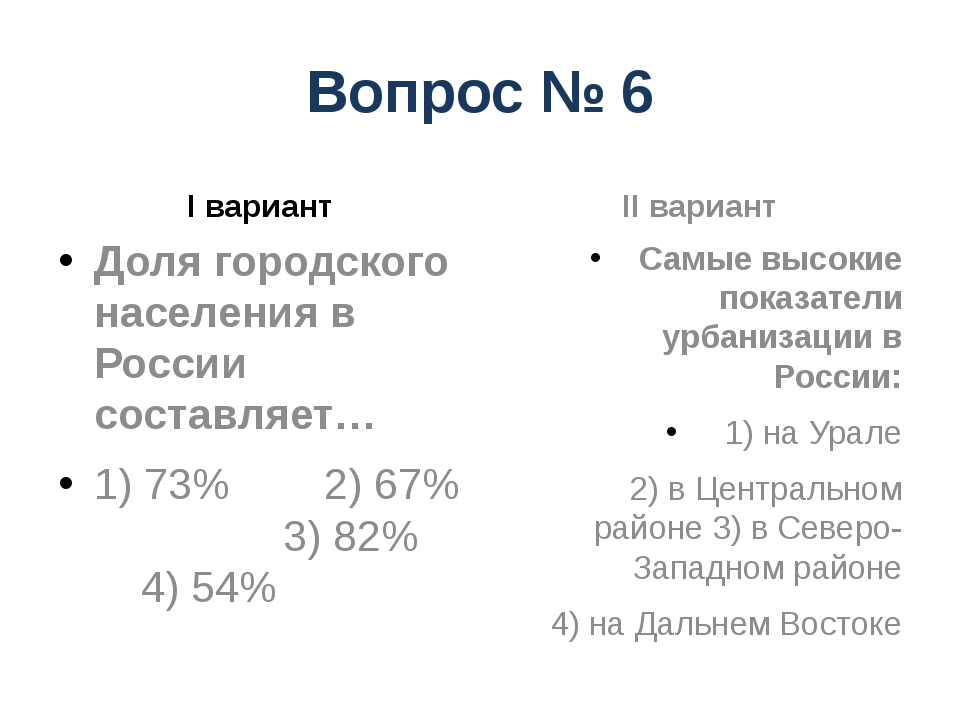 Вопрос № 6 I вариант Доля городского населения в России составляет… 1) 73% 2)...
