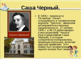 Саша Черный. В 1905 г. переехал в Петербург. Начал сотрудничать в сатирическ