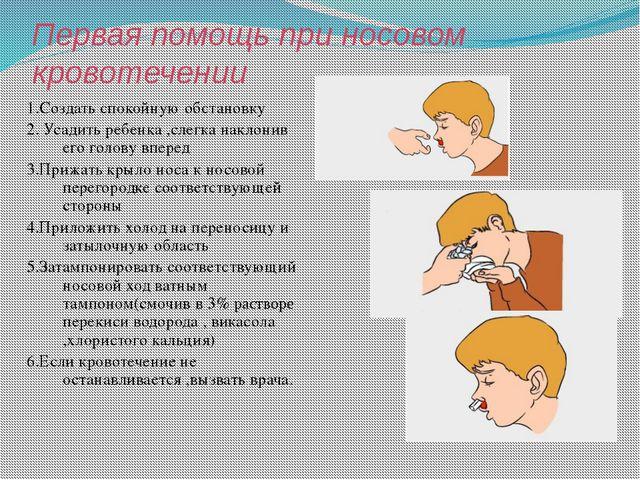 Первая помощь при носовом кровотечении 1.Создать спокойную обстановку 2. Усад...