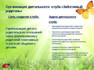 Организация деятельности клуба «Заботливый родитель» Цель создания клуба: Га