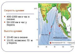 Скорость цунами 400-1000 км в час в океане 50-100 км в час у берега Высота ц