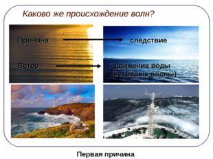 Каково же происхождение волн? Причина следствие Ветер движение воды (ветровы