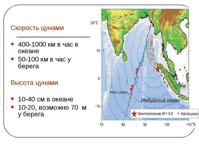Скорость цунами 400-1000 км в час в океане 50-100 км в час у берега Высота ц...