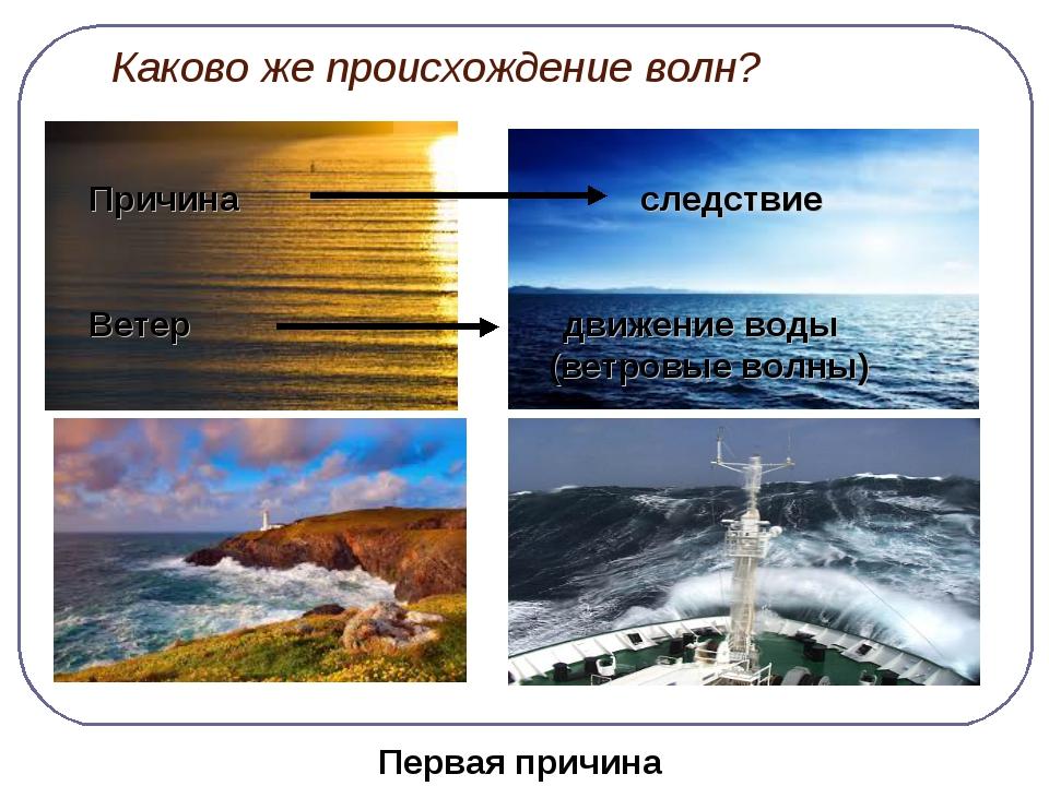 Каково же происхождение волн? Причина следствие Ветер движение воды (ветровы...