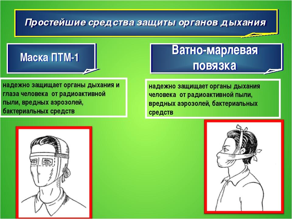 Простейшие средства защиты органов дыхания Маска ПТМ-1 Ватно-марлевая повязка...