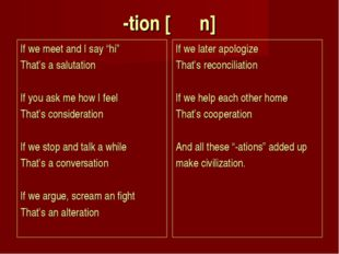 """-tion [ Ṥ n] If we meet and I say """"hi"""" That's a salutation If you ask me ho"""