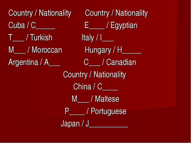 Country / Nationality Country / Nationality Cuba / C_____ E____ / Egyptian T_...