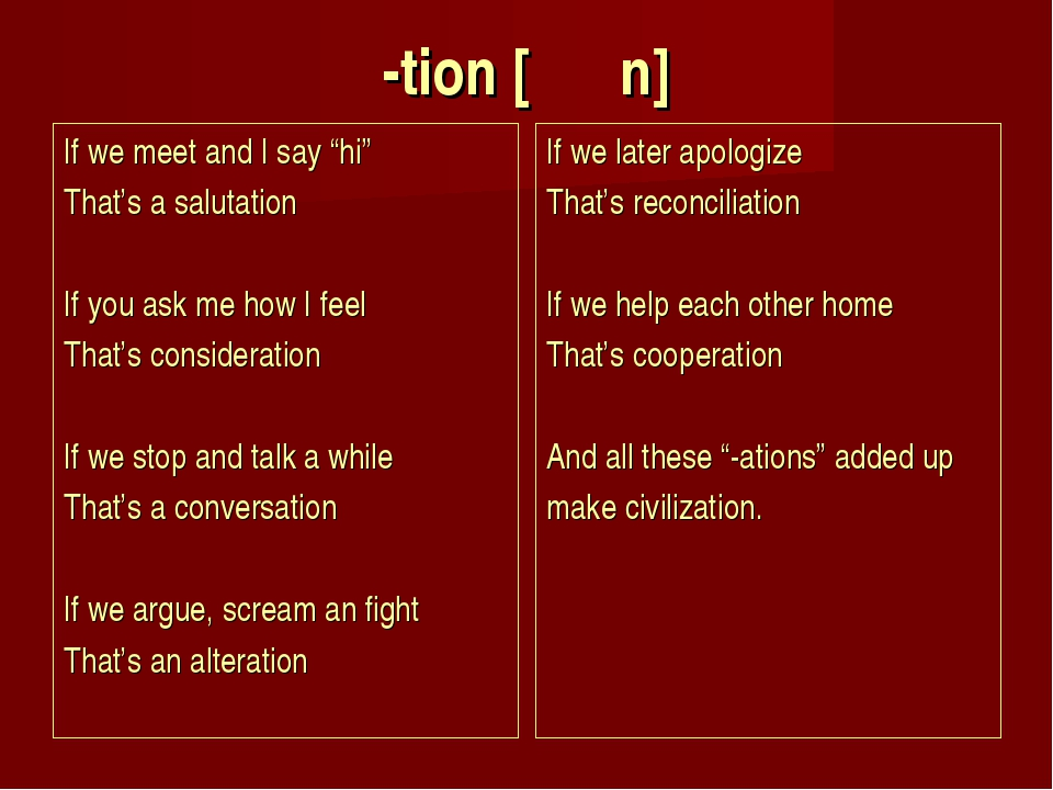 """-tion [ Ṥ n] If we meet and I say """"hi"""" That's a salutation If you ask me ho..."""