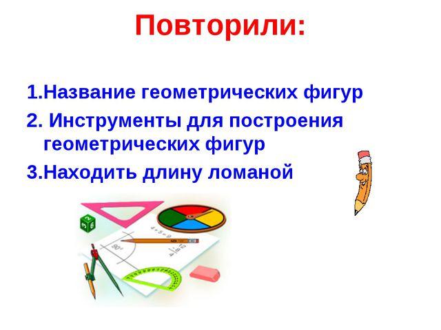Повторили: 1.Название геометрических фигур 2. Инструменты для построения геом...
