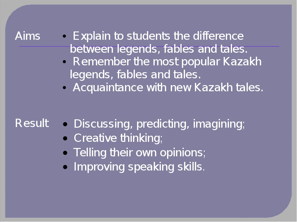 Aims Explainto students the difference between legends, fables and tales. Rem...