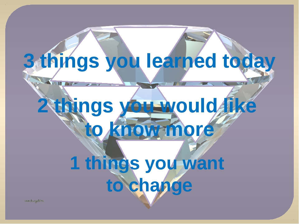 3 things you learned today 2 things you would like to know more 1 things you...