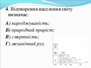 4. Відтворення населення світу визначає: А) народжуваність; Б) природний прир