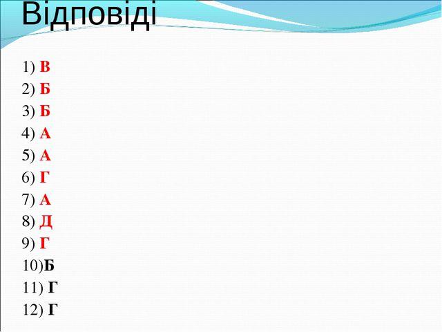 Відповіді 1) В 2) Б 3) Б 4) А 5) А 6) Г 7) А 8) Д 9) Г 10)Б 11) Г 12) Г