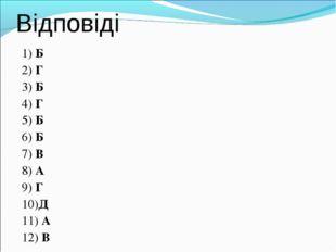 Відповіді 1) Б 2) Г 3) Б 4) Г 5) Б 6) Б 7) В 8) А 9) Г 10)Д 11) А 12) В