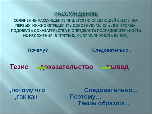 Почему? Следовательно… Тезис доказательство вывод ,потому что Следовательно....
