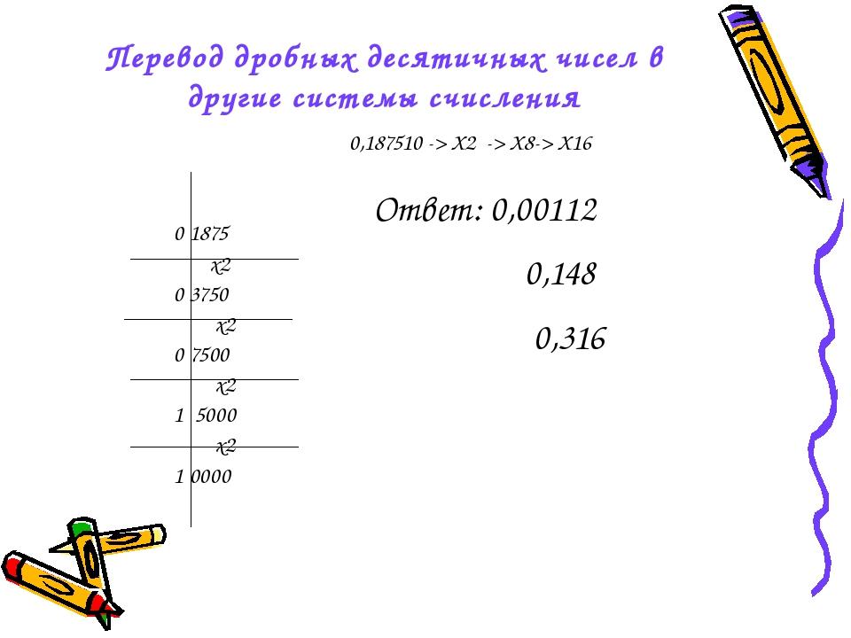 Перевод дробных десятичных чисел в другие системы счисления 0,187510 -> X2 ->...