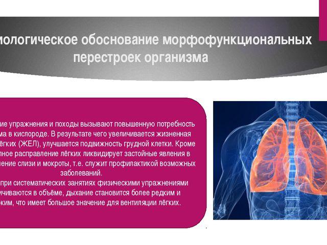 Физиологическое обоснование морфофункциональных перестроек организма Физическ...