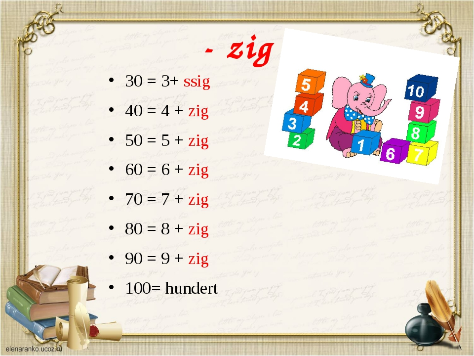 - zig 30 = 3+ ssig 40 = 4 + zig 50 = 5 + zig 60 = 6 + zig 70 = 7 + zig 80 = 8...