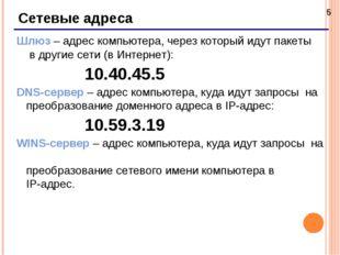 * Сетевые адреса Шлюз – адрес компьютера, через который идут пакеты в другие