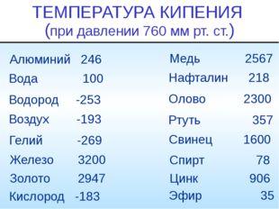 ТЕМПЕРАТУРА КИПЕНИЯ (при давлении 760 мм рт. ст.) Алюминий 246 Вода 100 Водор