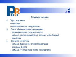 Структура имиджа: 4. Образ персонала - качества; - компетентность сотруднико