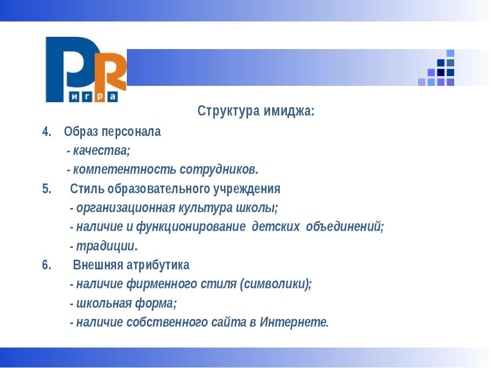 Структура имиджа: 4. Образ персонала - качества; - компетентность сотруднико...