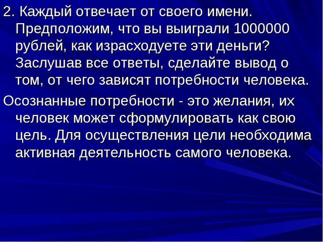2. Каждый отвечает от своего имени. Предположим, что вы выиграли 1000000 рубл...
