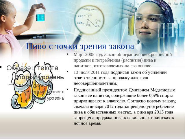 Пиво с точки зрения закона Март 2005 год. Закон об ограничениях розничной про...