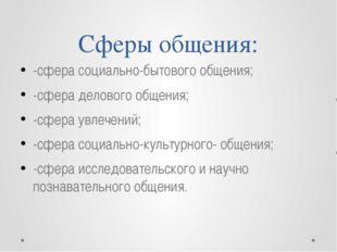 Сферы общения: -сфера социально-бытового общения; -сфера делового общения; -с