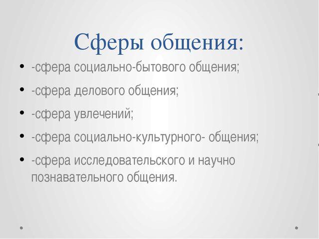 Сферы общения: -сфера социально-бытового общения; -сфера делового общения; -с...